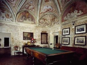 Italy, Casteldidone, Mina Della Scala Castle, Billiard Room