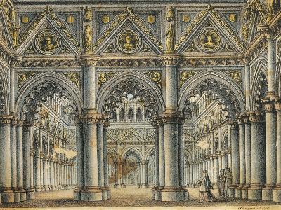 Italy, Catania, Hall in Capellio's Palace, Set Design for Opera I Capuleti E I Montecchi--Giclee Print