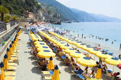 Italy Cinque Terre Monterosso - Sunbathers on the Beach--Photographic Print