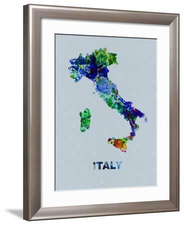 Italy Color Splatter Map-NaxArt-Framed Art Print