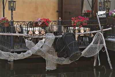 Italy, Comacchio, Po Delta Regional Park, Nets for Eel Fishing Hanging Outside Terrace--Giclee Print