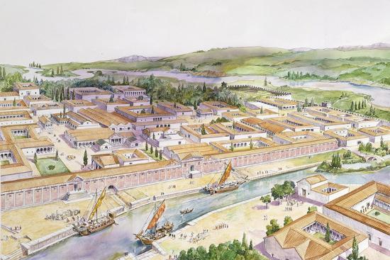 Italy, Friuli-Venezia Giulia, Reconstruction of Port of Aquileia--Giclee Print