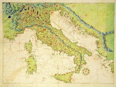 Italy, from an Atlas of the World in 33 Maps, Venice, 1st September 1553-Battista Agnese-Giclee Print
