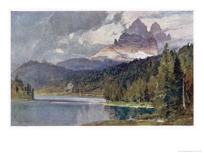 Italy: Lago Di Misurina in the Dolomites with Jagged Rocky Mountains in the Distance-Harrison Compton-Giclee Print