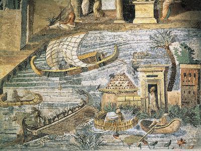 Italy, Lazio, Palestrina, Sanctuary at Praeneste, Depicting a Sailing Scene Along the Nile--Giclee Print