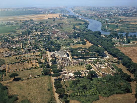 Italy, Lazio Region, Ostia, Ostia Antica, Roman Excavations, Aerial View--Giclee Print