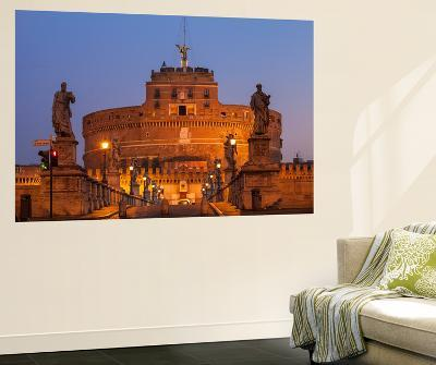 Italy, Lazio, Rome, View of St. Angelo Bridge and Castle St. Angelo (Hadrian's Mausoleum)-Jane Sweeney-Wall Mural