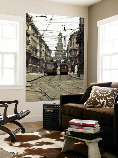 Italy, Lombardy, Milan, Milan Trams on Via Orefici with Castello Sforzesco, Dawn-Walter Bibikow-Wall Mural