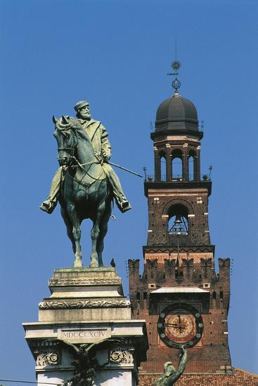Italy - Lombardy Region - Monument to Garibaldi and Sforza Castle in Milan--Giclee Print