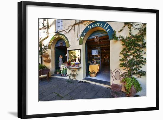 Italy, Lucca, Store Fronts Ready for the Day.-Terry Eggers-Framed Photographic Print