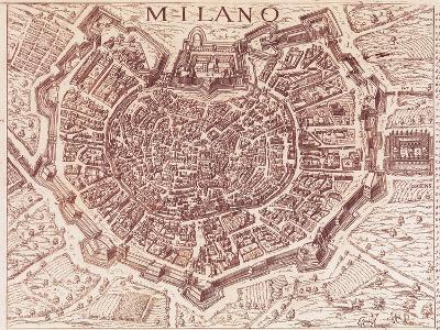Italy, Map of Milan in 1600--Giclee Print