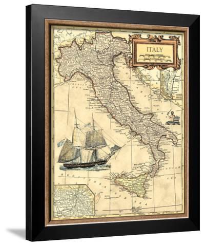 Italy Map--Framed Art Print