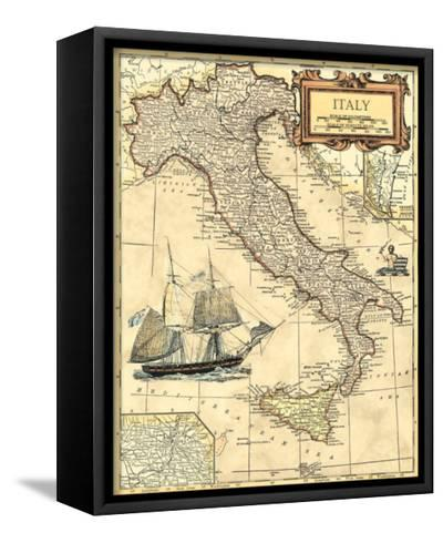Italy Map--Framed Canvas Print
