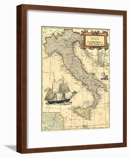 Italy Map-Vision Studio-Framed Art Print