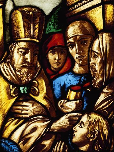 Italy, Milan Cathedral, King David Anointed by Samuel, Panel from a Stained-Glass Window--Giclee Print