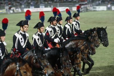 Italy, Milan, Civic Arena, Carousel of Police on Horseback--Giclee Print