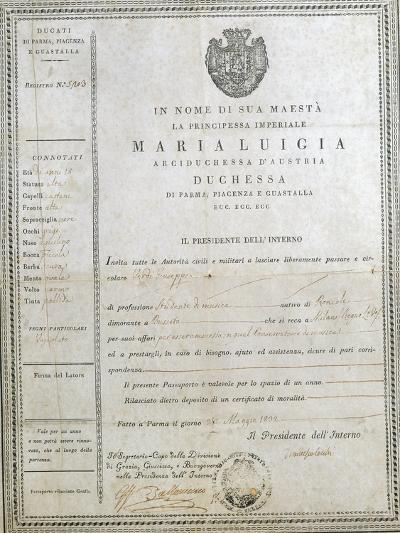 Italy, Milan, First Passport of Giuseppe Verdi--Giclee Print
