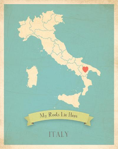 Italy My Roots Map, blue version (includes stickers)-Rebecca Peragine-Art Print