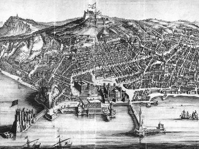 Italy, Naples, Map and Front View with Castel Nuovo--Giclee Print