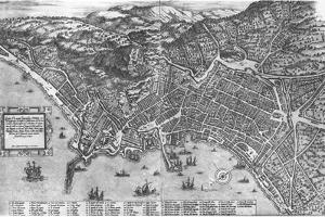 Italy, Naples, Map by Stephan Du Perac Drawing by Antonio Lafreri