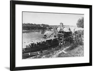 Italy, Pavia, Waterway Transportation on Ticino River with Ponte Coperto--Framed Giclee Print
