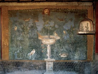 Italy. Pompeii. House of Venus. Fresco. Garden with Birds around the Fountain and Mask. 1st Century--Giclee Print