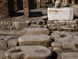 Italy, Pompeii, Pedestrian Crossing at Via Della Fortuna