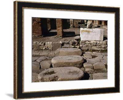 Italy, Pompeii, Pedestrian Crossing at Via Della Fortuna--Framed Photographic Print