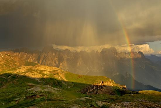 Italy, Region Trentino South Tirol, the Dolomites, Thunderstorm and Rainbow About the Rose Garden M-Bernd Rommelt-Photographic Print