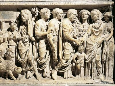 Italy, Roman Marble Sarcophagus with Relief Depicting Nuptial Rite, Celebration of Marriage--Giclee Print