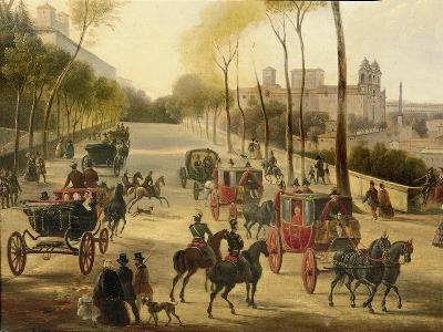 Italy, Rome, Carriage Rides in Pincio Gardens, Unknown Artist, Painting--Giclee Print