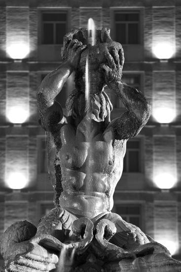 Italy, Rome, Fountain, Fontana Del Tritone, Fountain Figure, Sea God, Detail, Lighting, Night, S/W-Rainer Mirau-Photographic Print