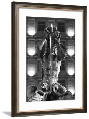 Italy, Rome, Fountain, Fontana Del Tritone, Fountain Figure, Sea God, Detail, Lighting, Night, S/W-Rainer Mirau-Framed Photographic Print