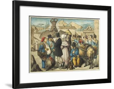 Italy, Rome, Market with Triton Fountain and Barberini Square in Background--Framed Giclee Print