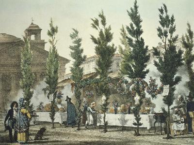 Italy, Rome, Pantheon Street Food Vendors by Antoine Jean-Baptiste Thomas--Giclee Print