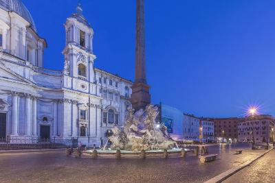 Italy, Rome, Piazza Navona and Sant'Agnese in Agone Church at Dawn-Rob Tilley-Photographic Print