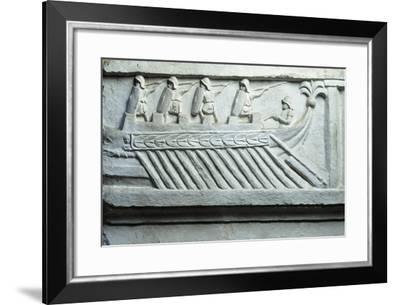 Italy, Rome, Roman Warship, Cast from the Original Work Situated in the Jordans' Cemetery in Rome--Framed Giclee Print