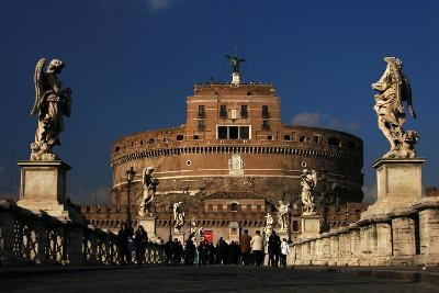 Italy. Rome. Saint Angelo Bridge and Hadrian's Mausoleum--Giclee Print
