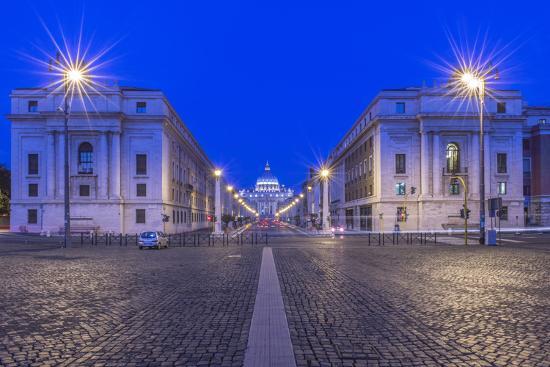 Italy, Rome, Via Della Conciliazione and St. Peter's Basilica at Dawn-Rob Tilley-Photographic Print