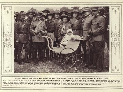 Italy's Keenest Boy Scout and Young Soldier, the Crown Prince, and His Baby Sister, at a Scout Camp--Photographic Print