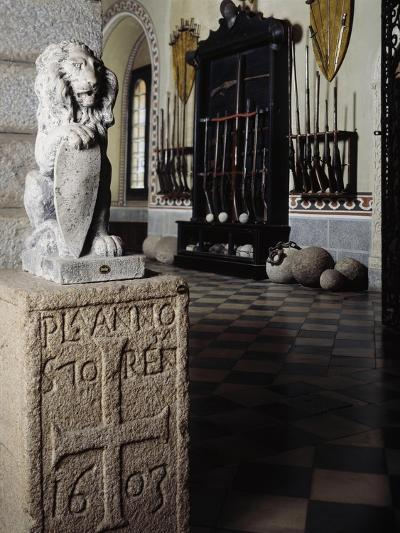 Italy, Sant Angelo Lodigiano, Morando Bolognini Castle, Statue of Lion on Granite Plinth--Giclee Print