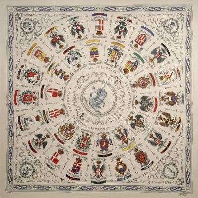 Italy, Scarf Depicting Coat of Arms of Cavalry Regiment--Giclee Print