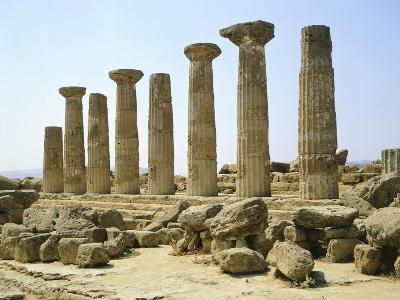 Italy, Sicily, Agrigento, Valley of the Temples, Temple of Hercules--Giclee Print