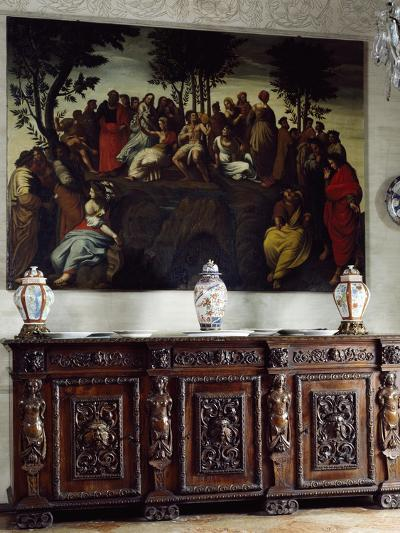 Italy, Somma Lombardo, Castello Visconti Di San Vito, Detail of Credenza in Dining Room--Giclee Print
