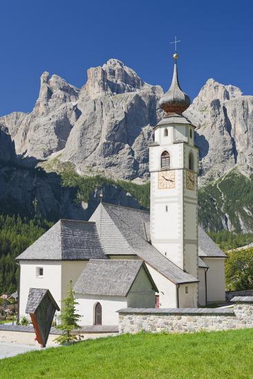 Italy, South Tirol, the Dolomites, Sella, Colfosco Church-Rainer Mirau-Photographic Print