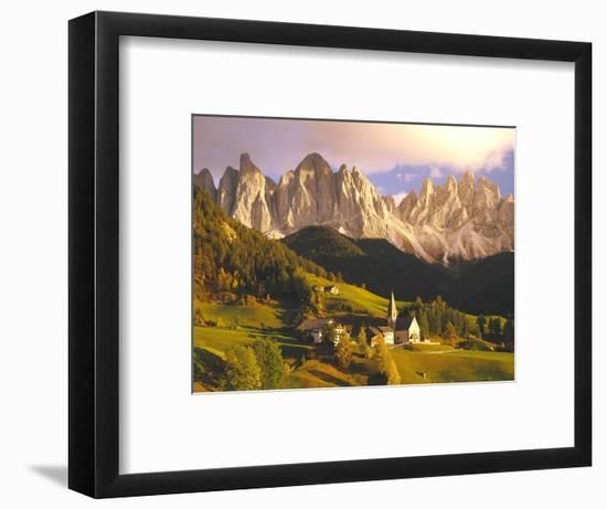 Italy, South Tyrol, Villn?Tal, St. Magdalena, Mountains, 'Geislerspitzen', Autumn-Thonig-Framed Photographic Print