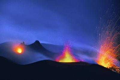 Italy, Stromboli. Long Exposure Image of Three Eruptions at Night-David Slater-Photographic Print