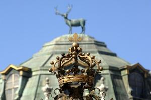Italy, Stupinigi, Entrance Gate with House of Savoy Coat of Arms at Royal Hunting Lodge