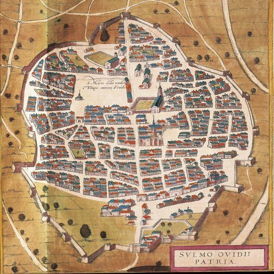 Italy, Sulmona, the City of Sulmona from Civitates Orbis Terrarum--Giclee Print