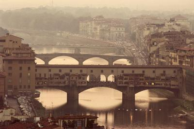 Italy, Tuscany, Florence, Ponte Vecchio and Arno River with Bridge-Jeff Spielman-Photographic Print